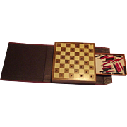 Small  Drueke Travel Checkerboard with Pegs Leather Look Book