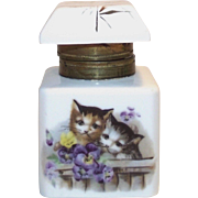 Porcelain Ink Well with 2 Hand Painted Kittens