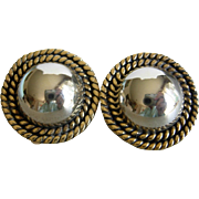 Sterling Silver Button Earrings Clip Style with Gold Rope Detail Mexico