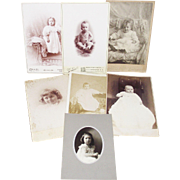 9 Victorian Cabinet Card Photos-Babies & Young Children Naked Baby -Jewelry- Great Furniture