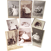 9 Victorian Cabinet Card Photos-Babies & Young Children Jewelry- Sleigh - Great Furniture