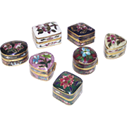 Small Enamel Cloisonné  Pill Box