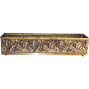 English Brass Flower Box Holly Berry Pattern
