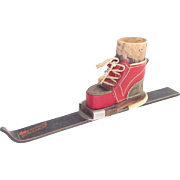 Norwegian Wooden Ski with Leather Ski Boot Match Holder