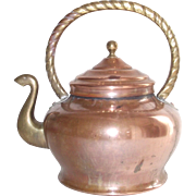 Italian Copper Tea Kettle with Brass Handle and Swan Neck Spout