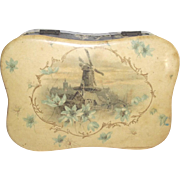 Vintage Celluloid Dresser Box with Wind Mill and Flowers