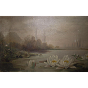 Victorian Oil on Canvas Water Lilies Sunday Painter