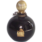 Lanvin Arpege Perfume Bottle Round Black Glass with Gold Stopper 1/2 OZ