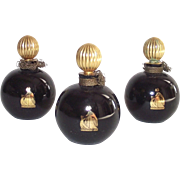 Lanvin Arpege Perfume Bottle Round Black Glass with Gold Stopper 1/4 OZ