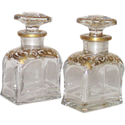 French Perfumes for Casket - Pair Hand Blown Hand Painted with Gold Trim