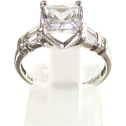 14 Kt. White Gold  Ring sz 6 -  Princess Cut - Rounds  &  Baguette  CZs.