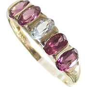 Antique Rubellite Tourmaline and Aquamarine Half Eternity Band Ring 10Kt Yellow Gold Band