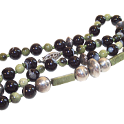Vintage  Bead Necklace  Sterling and  Banded Black Agate and Olivenite Twenty Four Inches Long