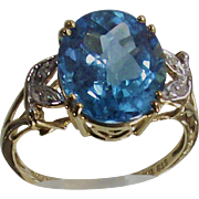 Vintage  Swiss Blue Topaz with a  Checkerboard Cut Three Caret Stone in TenKt Yellow Gold Ring