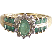 Vintage Oval Emerald and Diamond Ring Ten kt Yellow Gold  Size Six and One Half