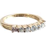 Vintage Ten Kt Yellow Gold Ring Guard Band Ring with Sky Blue Topaz and Tiny Diamonds size six
