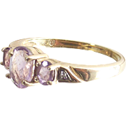 Vintage Ten Kt Yellow Gold Ring with Three Oval Rose D' France Amethyst - Past Present Futur