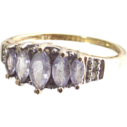 Vintage Ten Kt Yellow Gold  Five Marquise Light Tanzanites and Four Points of Diamonds  Size s