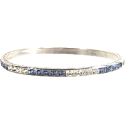 Sterling Art Deco Bangle Set with Blue and Clear Stones Signed Charles  Sidney Smith