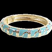 Vintage Turquoise and Gold Tone Enamel Clapper Style Bangle Bracelet