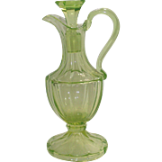 Victorian Vaseline Glass Cruet Elegant Ewer Style