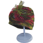 Feather 1940s Turban Style Hat - Blood Red and Olive Stunning