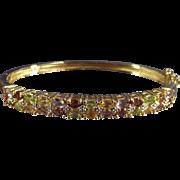 Vintage Multi Gemstone Sterling with Gold Wash Hard Bangle Bracelet