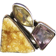 Vintage Designer Ring Amethyst Citrine and Golden Drusy Quartz set in Sterling Silver size 6 Â