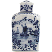 Vintage Delft Blue White Porcelain Tea Caddy with Windmill