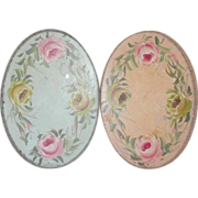 SOLD Small Oval Tole Tray with Open Gallery Roses