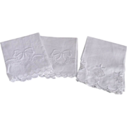 Three Piece Victorian White Huck Linen Guest Towels
