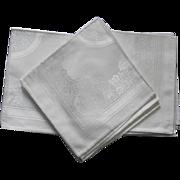 Six Damask Linen Cream Color Dinner Size Napkins ROSES