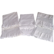 SOLD Six Vintage White Pillow Cases Includes 2 Matched Sets