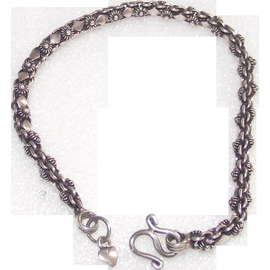 Tennis Charm Bracelet: Sterling Tennis Style Bracelet Heart Dangle Charm From