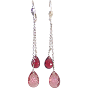 Silvertone Dangle Earrings with Two Shades of Pink Briolettes