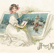 Happy New Year Card Young Edwardian Girl