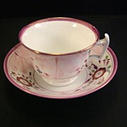SOLD Pink Lustre Cup and Deep Bowl Saucer 19th Century - Red Tag Sale Item