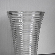 Manhattan Pattern Clear Depression Glass Vase
