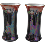 Royal Staffordshire Potteries Wilkinson Pair Lustre Vases C. 1907