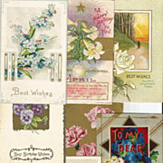 7 Piece Group Lot of Vintage Post Cards - Florals - B.Day - Holidays