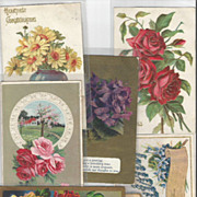 6 Piece Group Lot of Vintage Post Cards - Florals - B.Day - Holidays