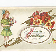 Post Card Edwardian Little Girl with Pansies Highly Embossed signed P Sander