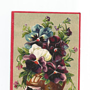 Post Card Highly Embossed Birthday with Pansies    Beautiful