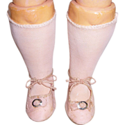 "SOLD German 3"" Pink Cloth Doll Shoes & Vintage Pink Stockings"