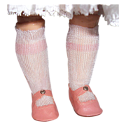 SOLD Pink Oil Cloth Doll Shoes & Rayon Stockings. Center Snap, Vintage 50s.
