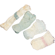 SOLD 4 Pair Vintage Rayon Doll Socks Stockings. Small Blue Green White