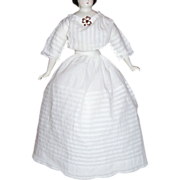 SOLD Early Pin-tucked Dress + 1/2 Slip for French / German Fashion or China Head Dolls. Narrow
