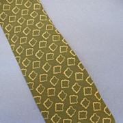 SALE GIORGIO ARMANI Sage Khaki Abstract Geometric Print Silk Tie