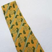 SALE GIORGIO ARMANI  Brown Hunter Stripe Paisley Jacquard Print Silk Tie