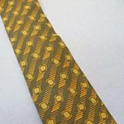 SALE GIORGIO ARMANI  Navy, Mustard, Sage Bias Print Dobby Weave Silk Tie